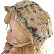 Fancy Beaded Doll Bonnet