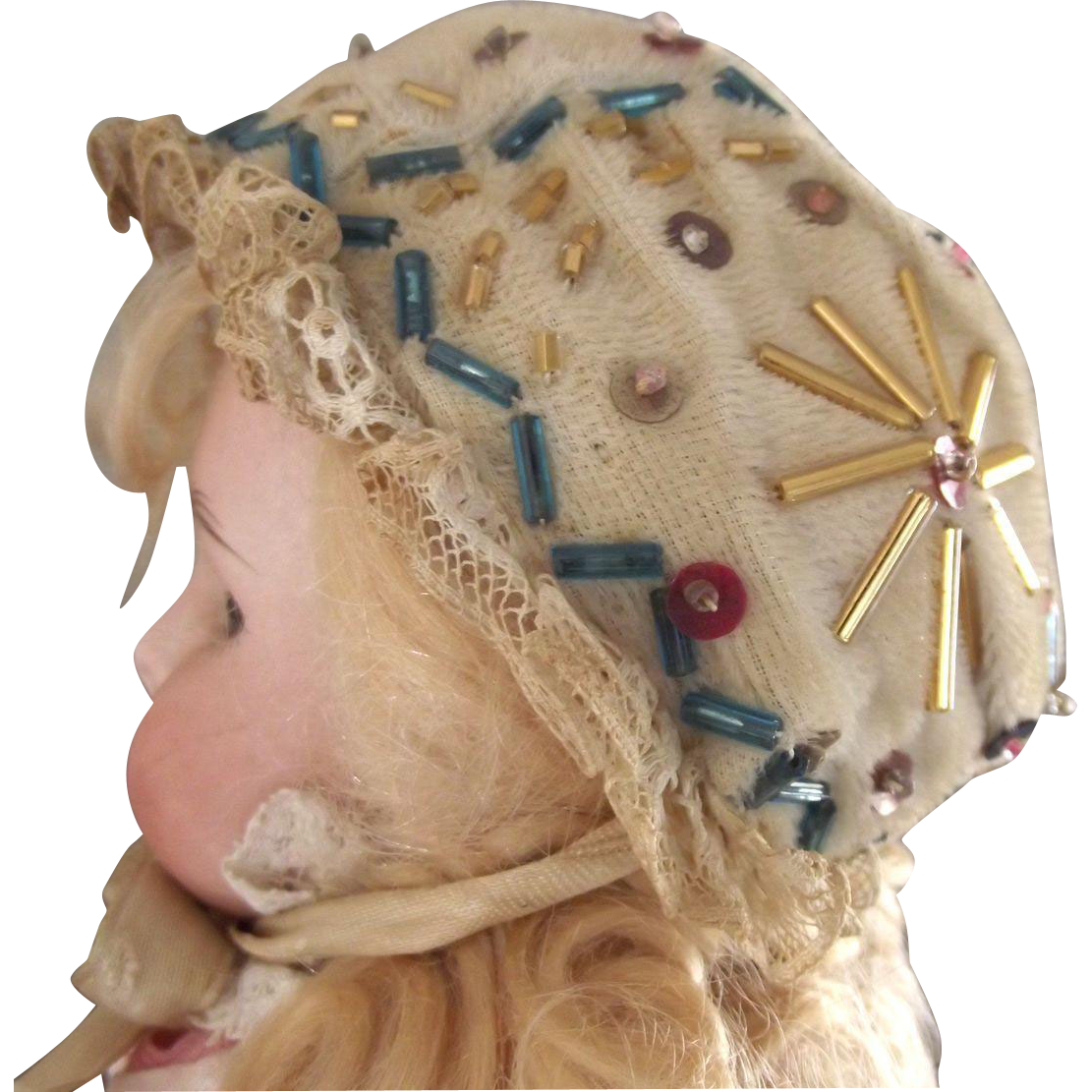 Fancy Beaded Doll Bonnet