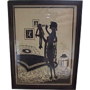 Silhouette Lady and Boudoir Doll Titled French Dolls