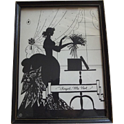 Silhouette Lady and Flowers Titled Forget Me Not