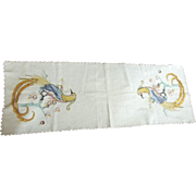 Linen Runner With Lace Edging and Embroidered Bird