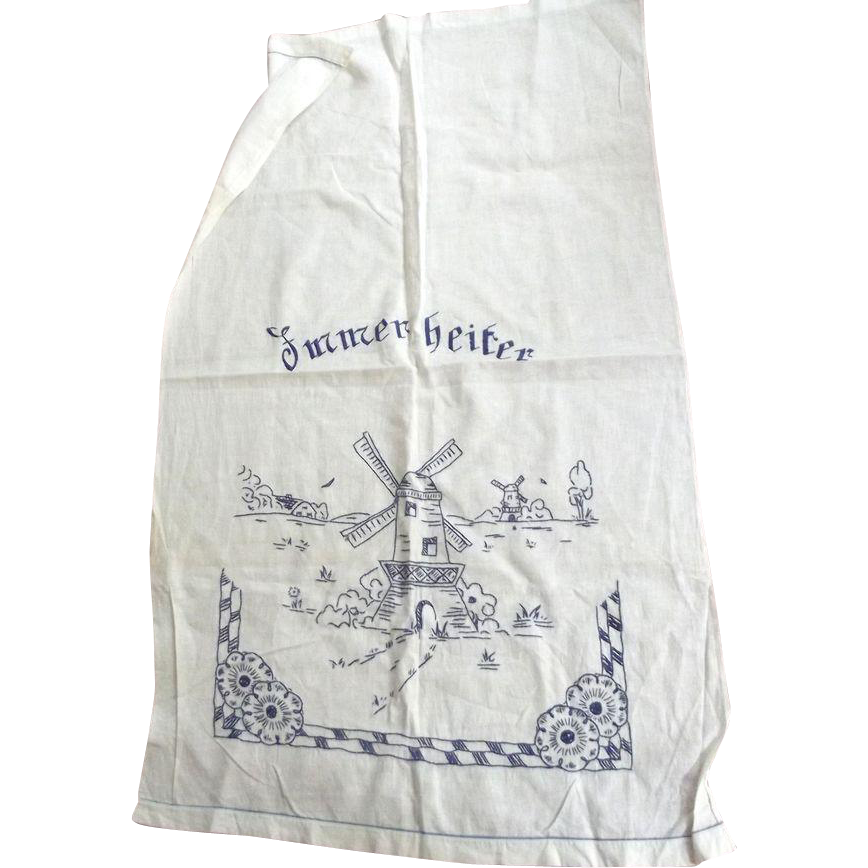 Linen Over Sized Kitchen Towel Blue Embroidery With Dutch Scene
