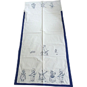 Linen Over Sized Kitchen Towel Blue Embroidery With Dutch Scene, Children