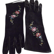 French Suede  GLoves With Embroidered FLowers
