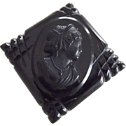 Large Black Celluloid Cameo