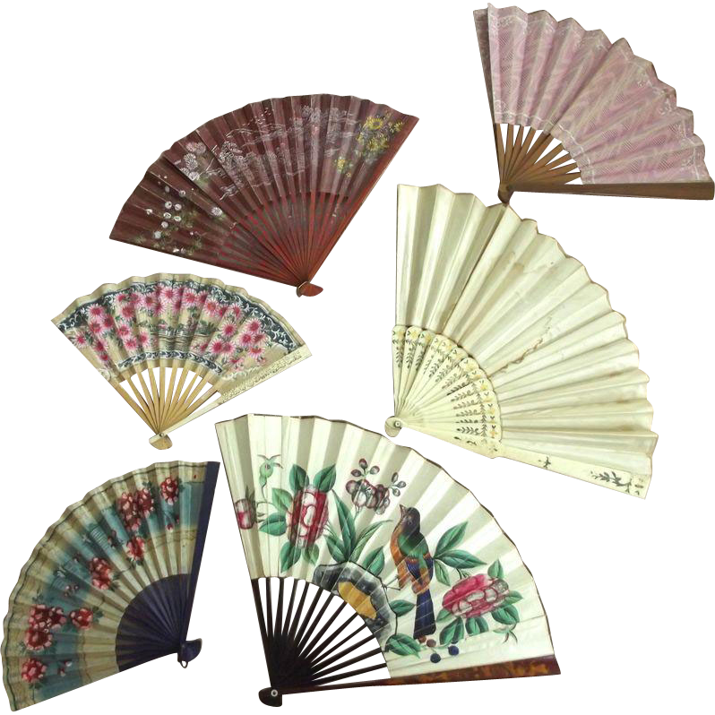 Fan Collection, Wedding Fan, Painted Fan, Wood Spoke Fans As Is