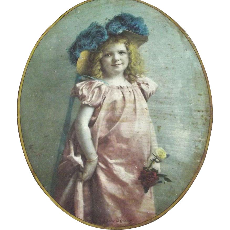 Shabby Chic Victorian Portrait of a Child on Metal