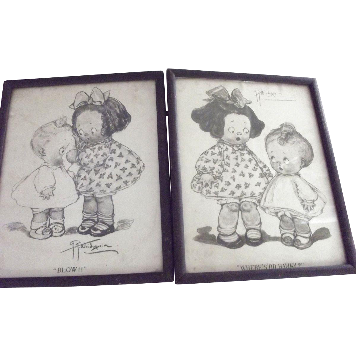 Pair of Early  Grace Grayton  Dolly Dimple Prints
