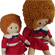 Pair of Cloth Annie Dolls, One Huge