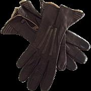 Vintage Brown Leather Gloves - Red Tag Sale Item