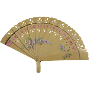 Doll Size Celluloid Fan With Violets