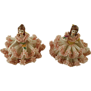 Pair of Tiny Dresden Type Figures