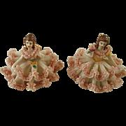 Pair of Tiny Dresden Type Figures