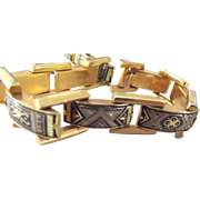 Damascene Domed Rectangle Link Bracelet