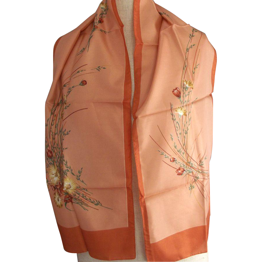 Pale Salmon and  Terra Cotta Floral Scarf