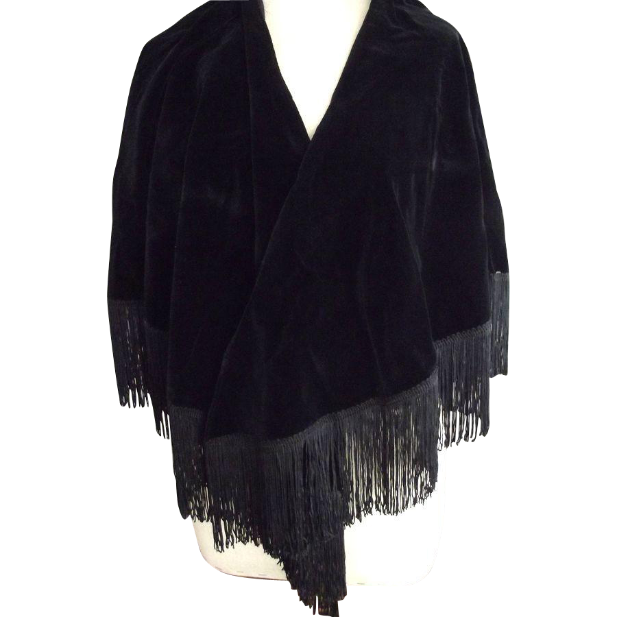 Black Velvet Fringed Shawl