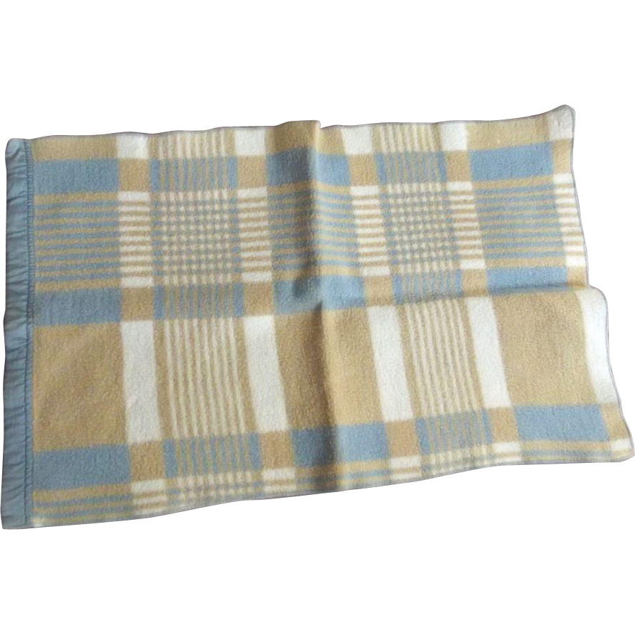 Blue,Beige and White Doll's Flannel Blanket