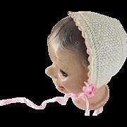 Knit Bonnet For Doll