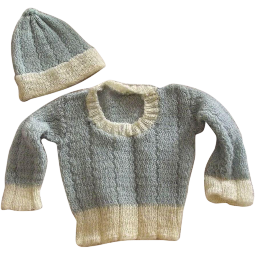 Doll or Teddy Bear Knit Sweater and Hat