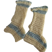 Blue Trim Baby Booties