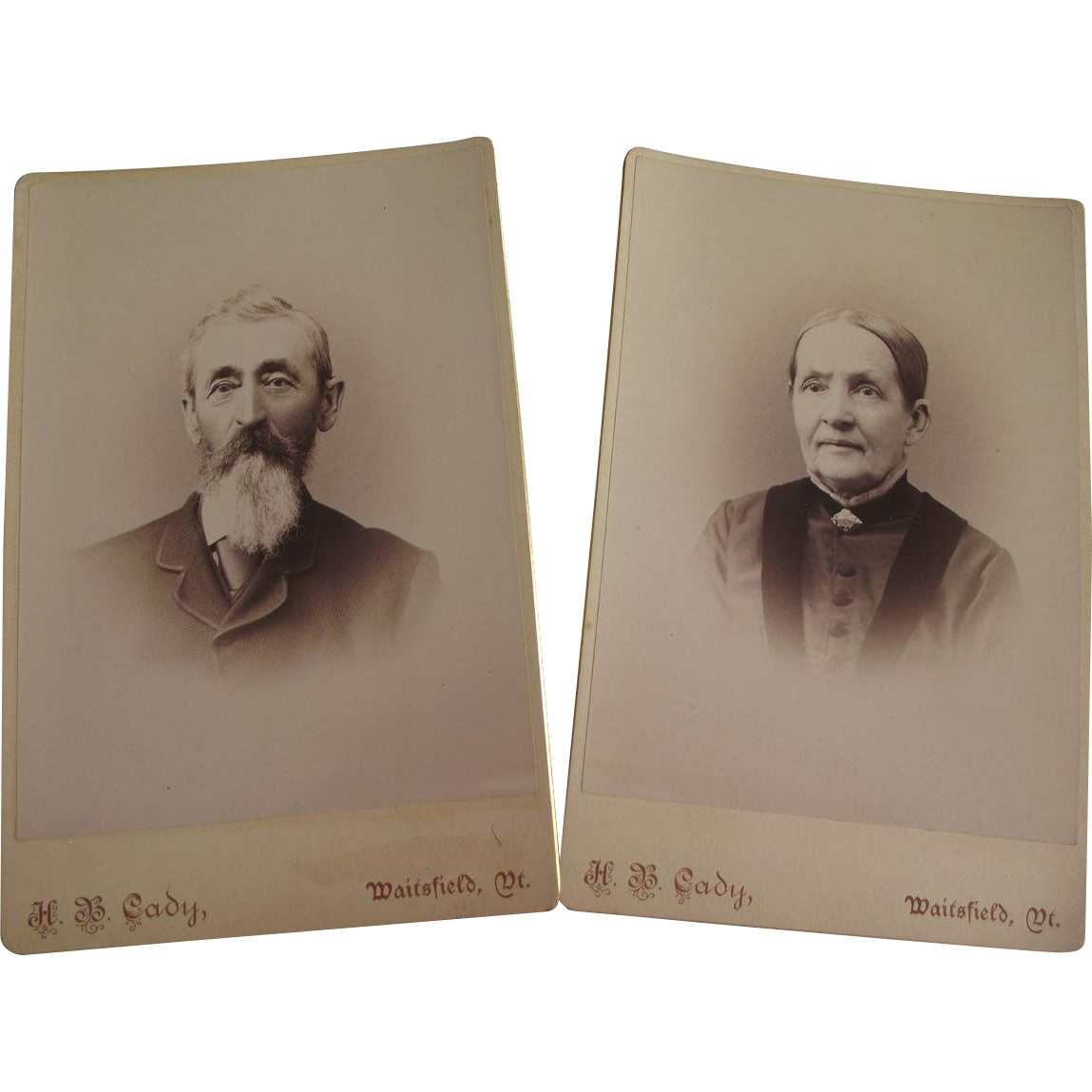 Cabinet Card Man and Woman ID on Back VT
