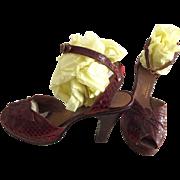 Red Ankle Strap Platform Shoes