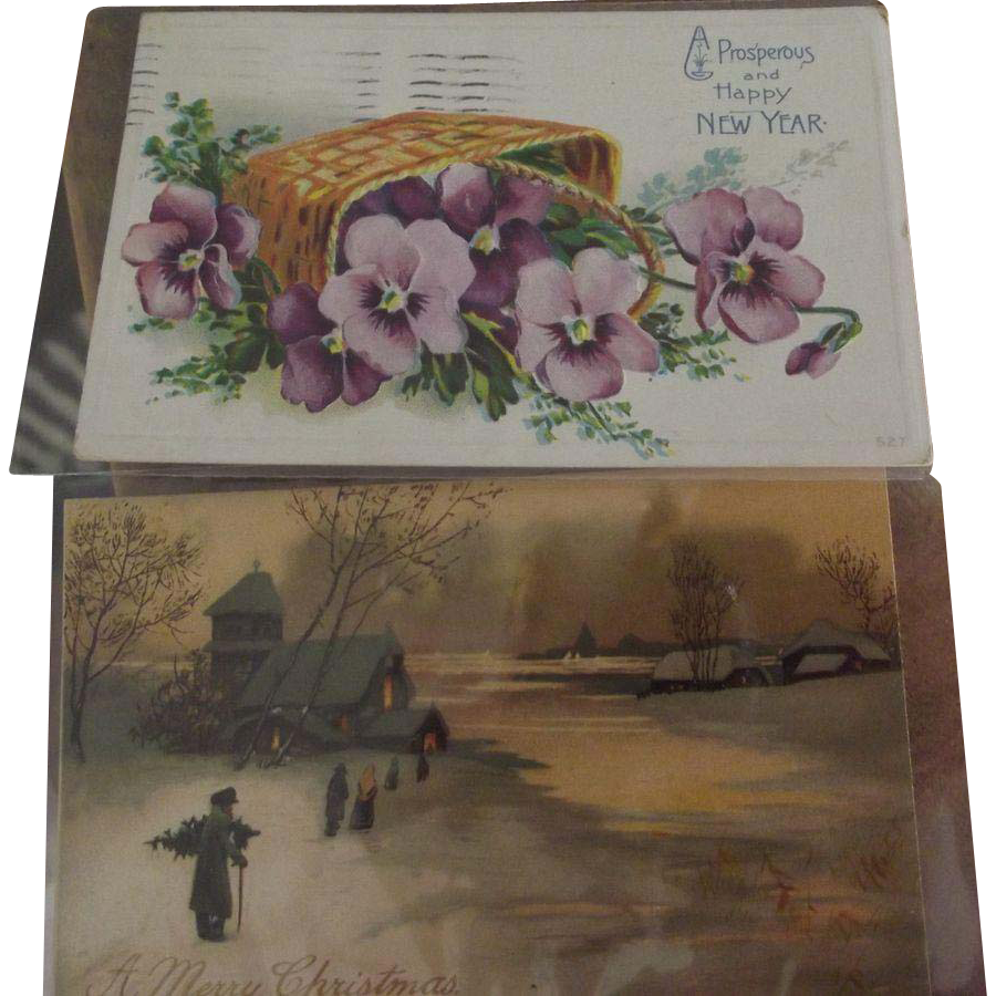 New Years Postcard and A Christmas Postcard