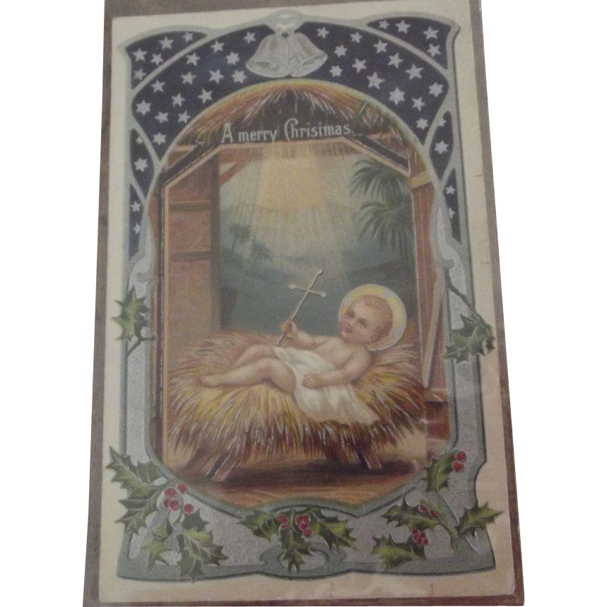 Early Religious Embossed Christmas Postcard