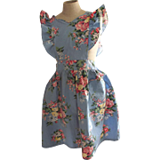 Blue Floral Bib Apron From the 40's or 50's