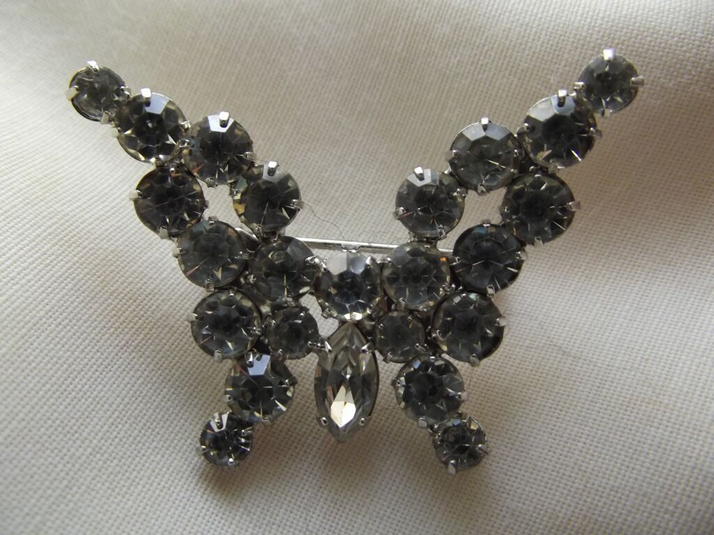 Rhinestone Butterfly Pin