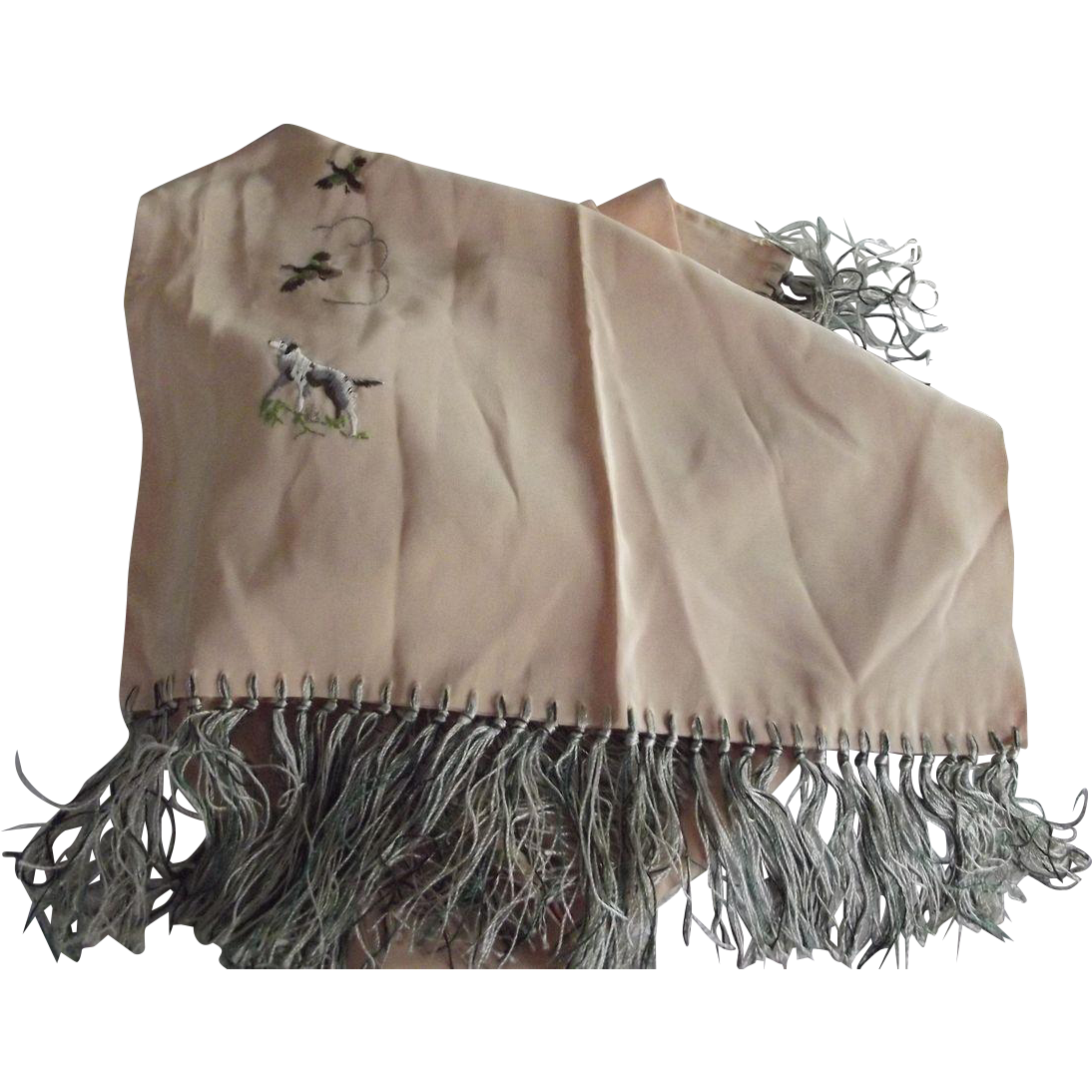 Peach Rayon Scarf Fringed Hunting Motif, Pheasant, Pointer Hunting Dog, Birds