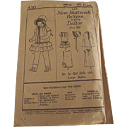 Butterick Doll Clothes Pattern Circa 1920 - Red Tag Sale Item