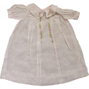 Organdy Doll Dress With Embroidered Flowers