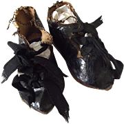 Black Oil Cloth Antique Shoes