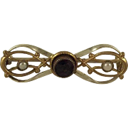 Bow Pin With Purple And Pearl  Stones
