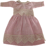 Pink Checked Dress For Small Doll