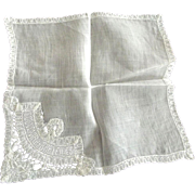 Three White Handkerchiefs One a Bruxelles Souvenir, A Wedding Hankie and Another.