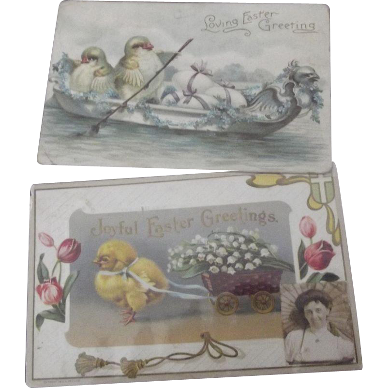 Two Easter Postcards With Chicks Circa 1911