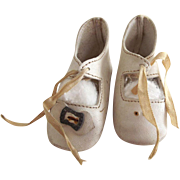 White Leather Shoes For Antique Doll