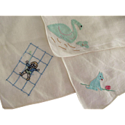 Three Vintage Child's Handkerchiefs With Swan, Child,Dog Motif