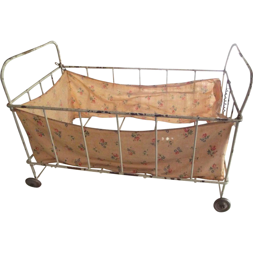 Small Metal Doll Bed On Wheels Chippy Paint