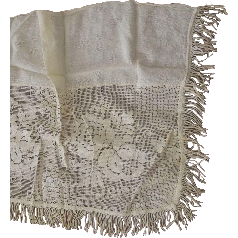 Victorian Mantel Cover With Embroidered Flowers and Fringe