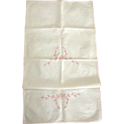 Muslin Towel With Pink Embroidery