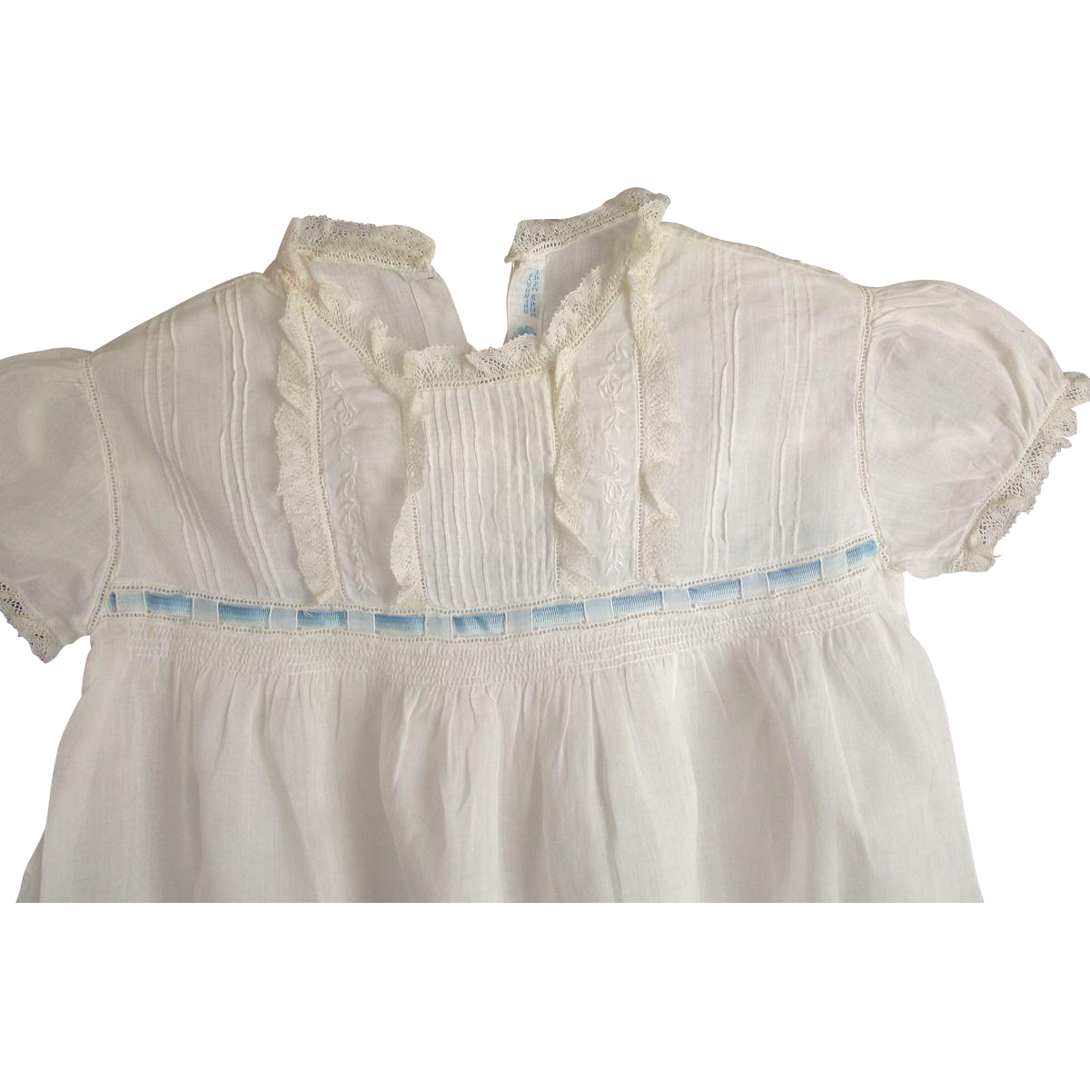 Edwardian Fine Lawn Toddler Dress With Ribbon Insertion Good For Large Doll