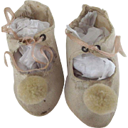 White Cloth Shoes With PomPoms