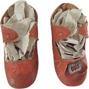 Orange Oil Cloth Antique Shoes For A Doll