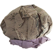 Doll Tam Hat Lavender Band and Button, Oriental Muted Print