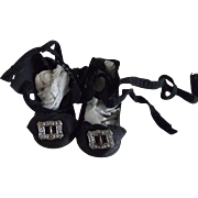 Small Black Oil Cloth Doll Shoes