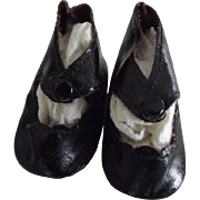 Black Center Snap Oil Cloth Doll Shoes