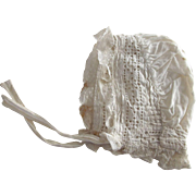 White Cotton and Lace With Eyelet Bonnet For Baby or Doll